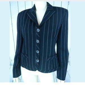 Carlisle Blazer 4 Black Wool Poly Stretch Pinstrip
